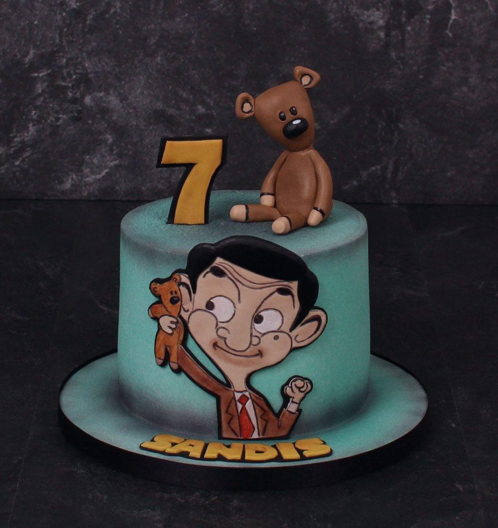 Käsinmaalattu Mr. Bean fantasiakakku.