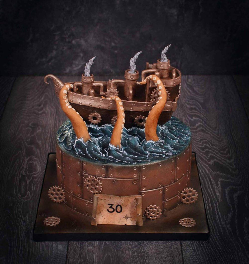 Steampunk fantasiakakku syntymäpäiville laivateemalla.